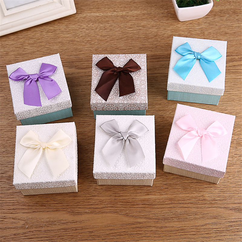 Doreen Box 9x8.5x5.5cm Paper Jewelry Box Watch Boxes Bowknot Flower Pattern Gift Packing Display Multicolor Wholesale 1 Piece
