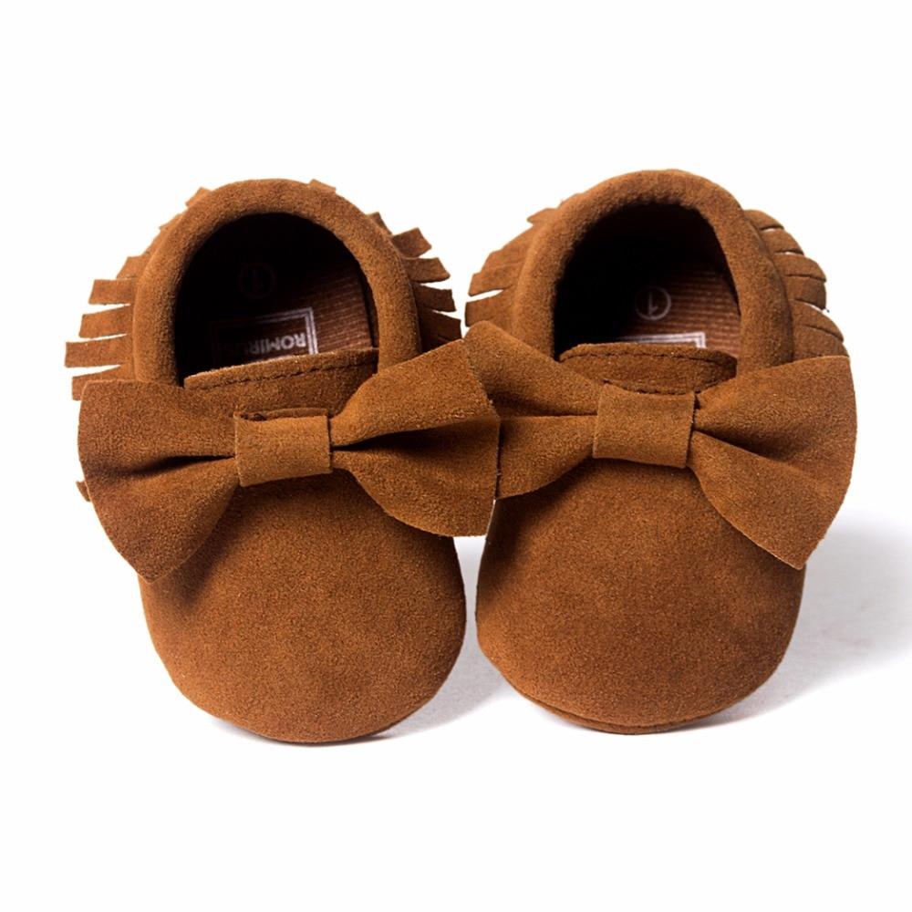 Sepatu bayi PU kulit Padat rumbai Buram, kupu-simpul Bayi Baru Lahir - Sepatu bayi - Foto 3