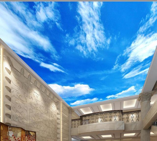 Europe 3d Plafond Bleu Ciel Et Nuages Blancs 3d Hd Plafond Papier