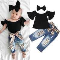 1 6T Girls Clothes Set Black Raglan Sleeve Shirt For Girls Leopard Print Long Jeans Baby Baby Headbands Girls Kids Sets Clothing