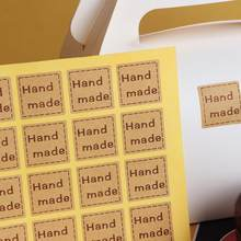 Handgemaakte Sticker20pcs/Lot 25*25 Mm Vintage Stickers Kraft Label Sticker Diy Hand Gemaakt Voor Gift Cake Bakken afdichting Sticker(China)