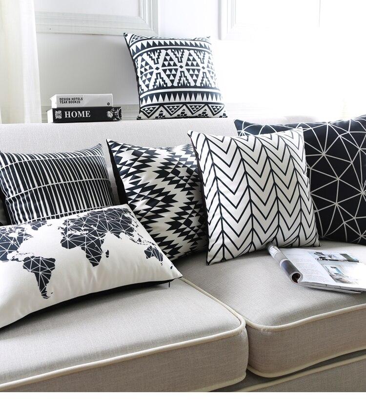 cool noir et blanc coussin covers gomtriques triangles bande carte du monde taie duoreiller. Black Bedroom Furniture Sets. Home Design Ideas