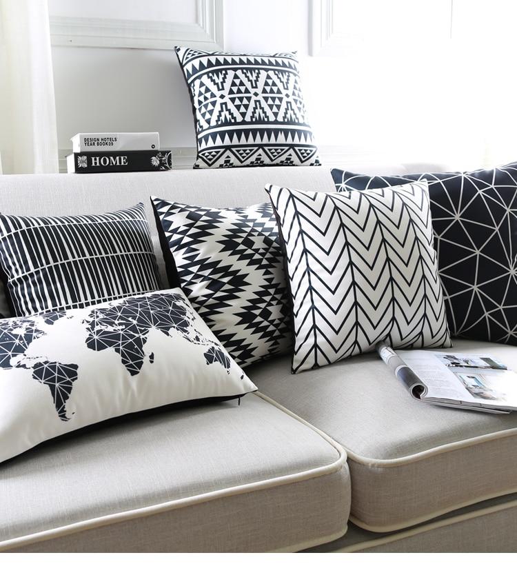 Black And White Cushion Covers Geometric Triangles Stripe