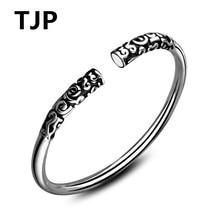 TJP New Arrival 925 Sterling Silver Bangles For Women Party Jewelry Vintage Gold Men Bracelets  Boy Girl Birthday Gift