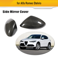 2pcs Side Mirror Covers for Alfa Romeo Stelvio 2017 2018 Carbon Fiber Rear View Mirror Caps Add On|Mirror & Covers|Automobiles & Motorcycles -