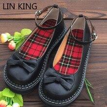 Lin king/Демисезонный женщин туфли-лодочки в стиле Мэри Джейн повседневная обувь на танкетке Лолита Обувь сплошной круглый носок с пряжкой в стиле ретро тонкие туфли Косплэй Обувь
