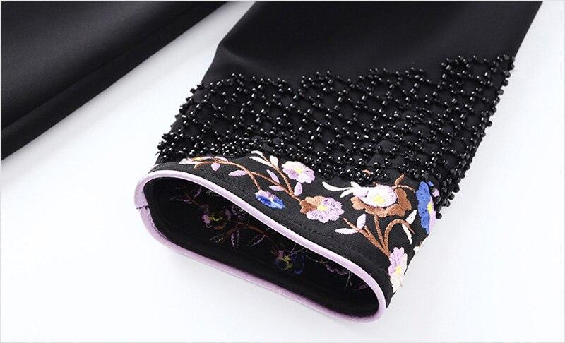 Mi Black Robes Chinois Noir Z990 Floral 2019 Décontracté Perles De Broderie Taille Fente Femmes Printemps Mode 5LqSj34cAR