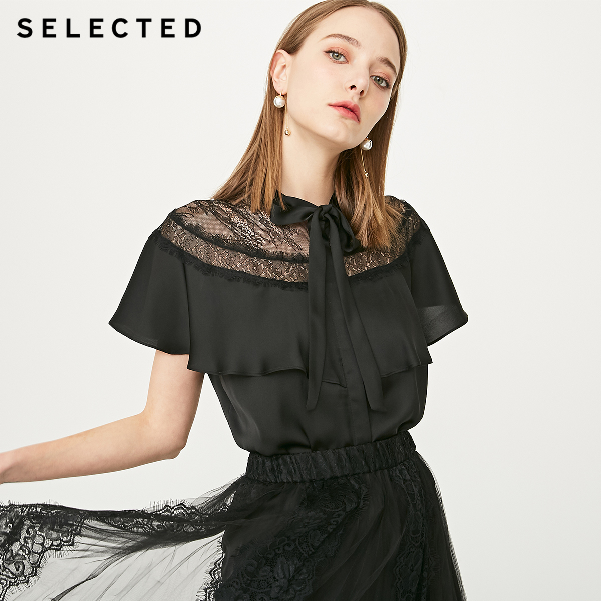 SELECTED Women s Summer Laced Short sleeved Shirt S 419204502