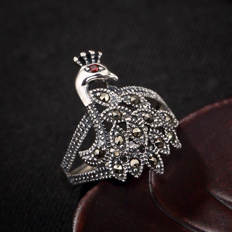 L & P Thai argent le paon Marcasite incrustation anneau pour les femmes rétro Original 925 bague en argent Sterling pour cadeau d'anniversaire
