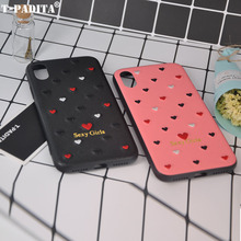 Фотография T-PADITA Sexy Girls Love Design Embroidery Case Cover For iPhone 6S 7 8 8 Plus X Cute Peach Heart Madam Lady Phone Case