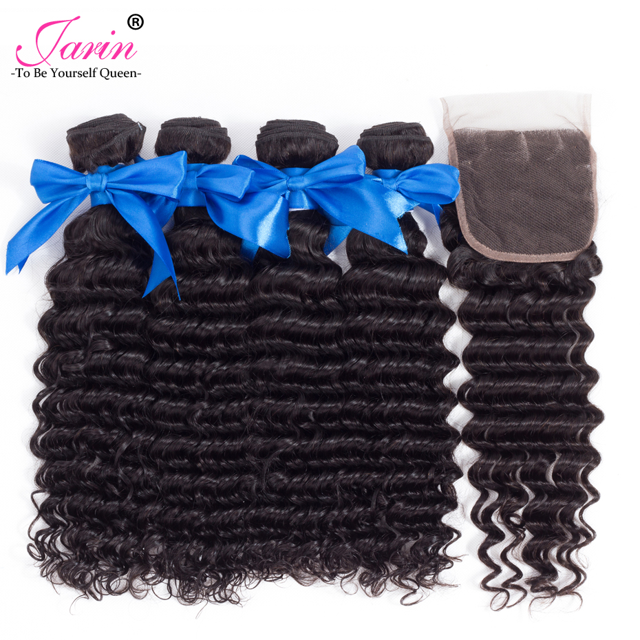Jarin Peruvian Deep Wave 4 Bundles with Closure 5PCS Swiss Lace Closure with Bundles Free Middle