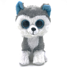 16cm Cute Stuffed Doll Ty Beanie Boos Animal Husky Dog Soft Big eyes beanie boo Lovely Plush Toy Stuff Ty Toys For Girl Children(China)
