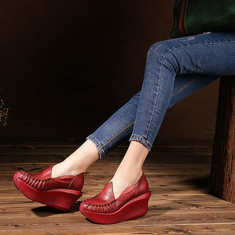 VALLU 2018 春女性のハイヒールの靴プラットフォームウェッジパンプス本革ハンドメイドヴィンテージ女性カジュアルシューズ  グループ上の 靴 からの レディースパンプス の中 1