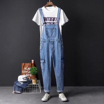 Japanese retro trend denim siamese pants  male Korean version of the small Siamese suspenders pants men's overalls pants