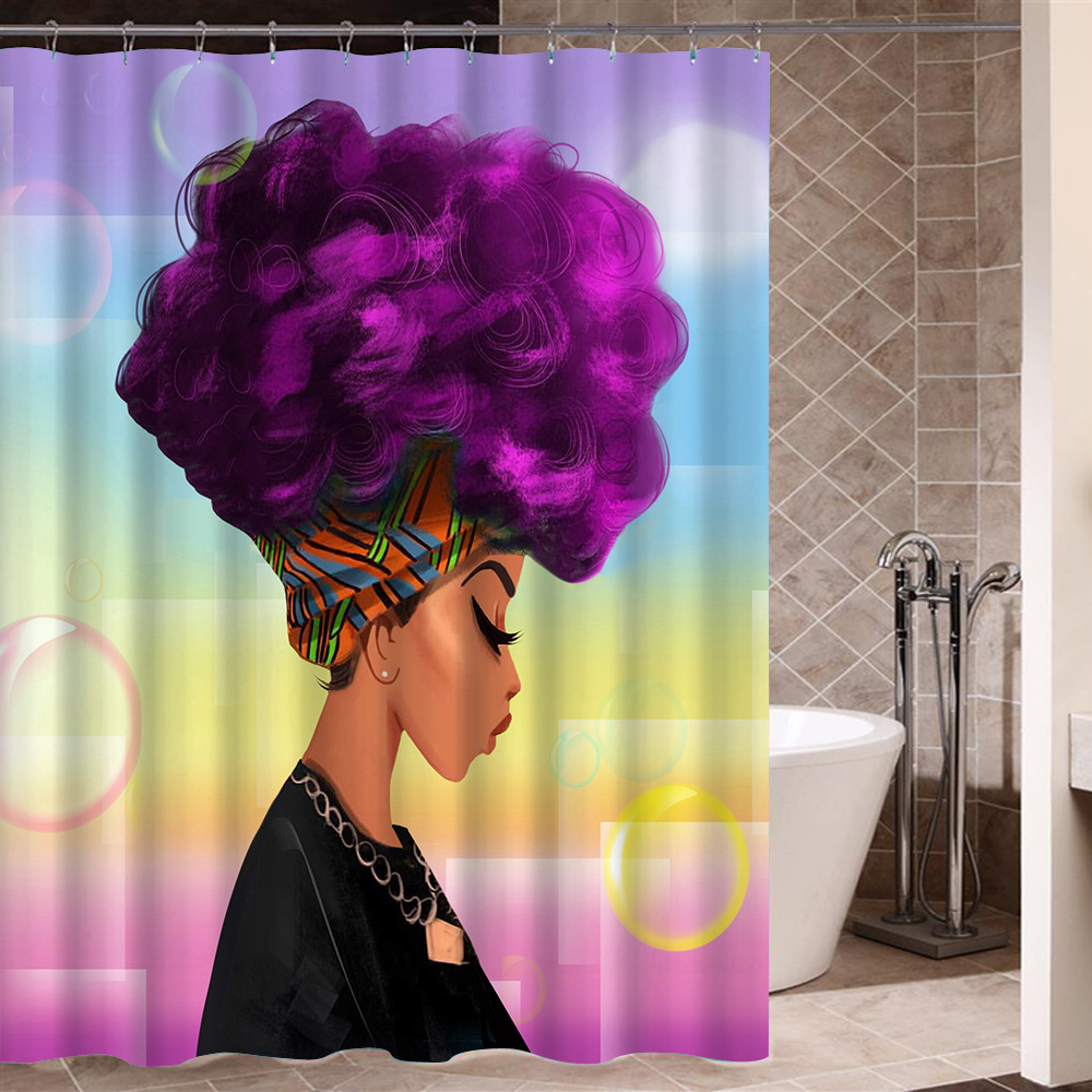 African Woman with Purple Afro Hair Shower Curtain Polyester Fabric Printing Bathroom Curtain Waterproof Home Product cat pattern waterproof shower curtain