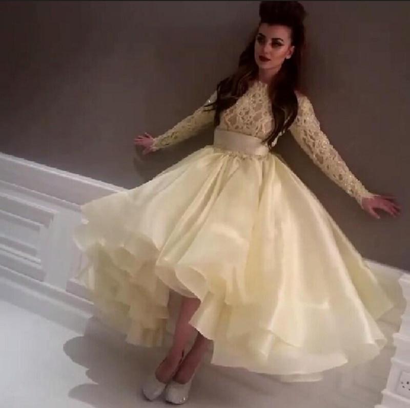 Chic Ball Gown Evening Dress Arabic Light Yellow Asymmetrical High ...