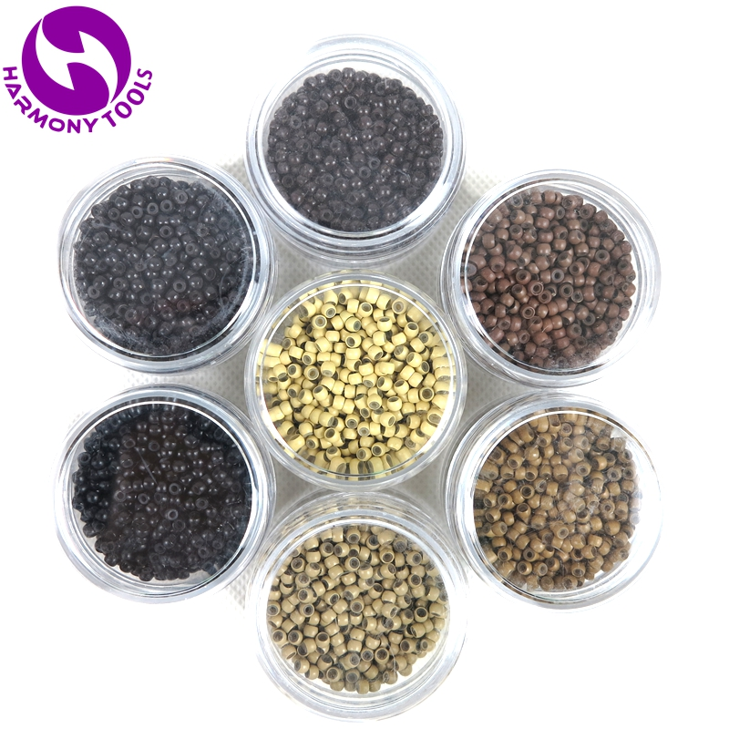 6000 Pieces 6 Colors 2.9x1.6x2.0mm Micro Loop Ring Copper Silicone Nano Beads Tubes Nano Hair Extension Tools