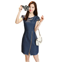 Fashion Korean Higth Waisted Skinny Denim Dress Female 2018 Summer New Women's Jeans Dress Short Sleeve Mini Vestdios Q16