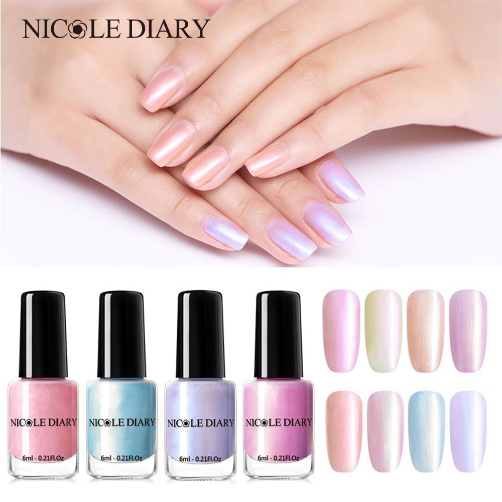 The Nail Art And Beauty Diaries: NICOLE DIARY 6ml Peel Off Pearl Nail Polish Rainbow Water