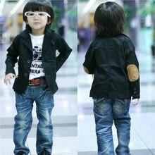 Fashion Boys' Blazers with Patch, Kids' Casual Suits, Spring Autumn Children's Cotton Jackets, Black Color Ourterwear Coats