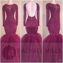 Вечерние платья русалки бордового цвета с открытой спиной 2020