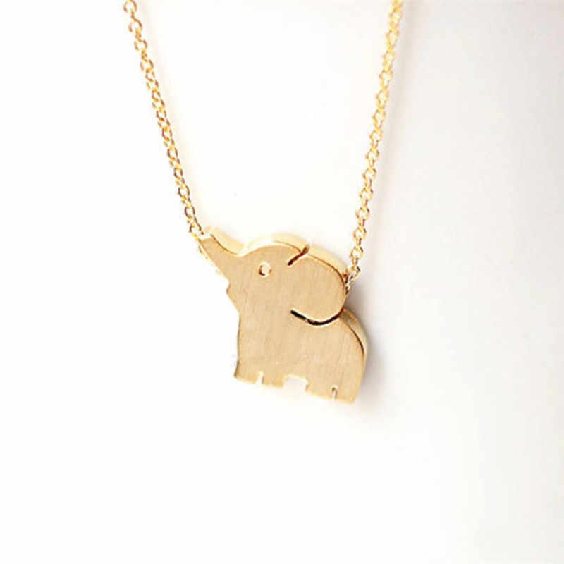ゴールドカラー象のネックレスのペンダントラッキーチャームステンレス鋼チェーンチャンキーステートメントネックレス襟 Mujer