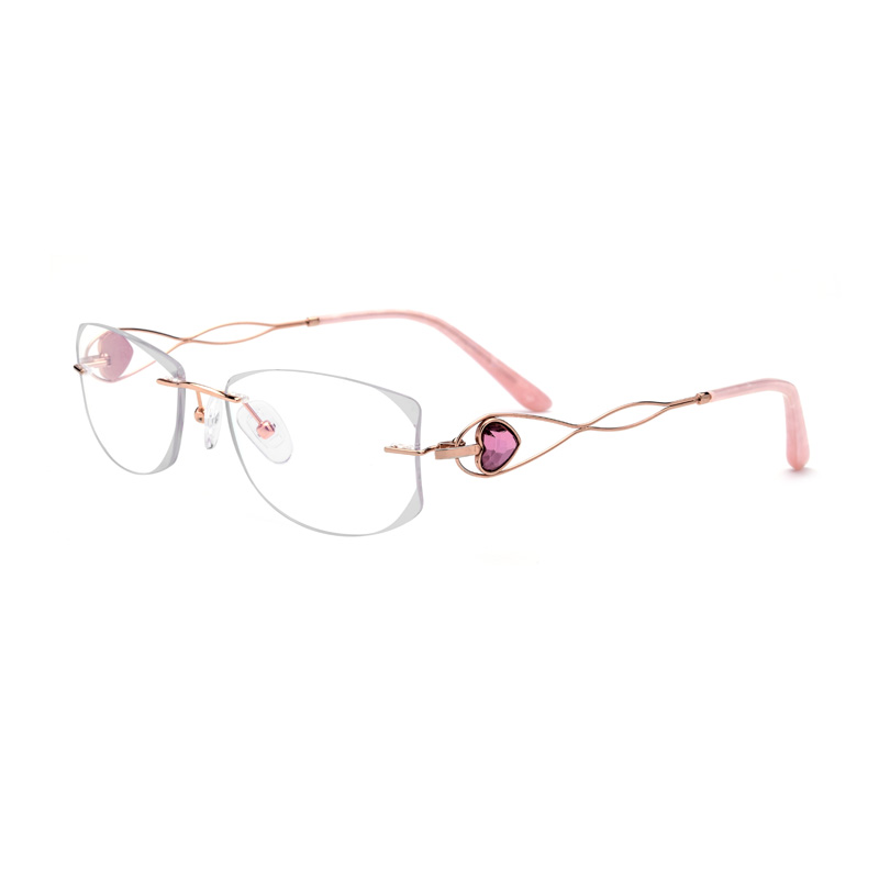 Silver Titanium Diamond Crystal Clear Glasses Women Eyeglasses Rimless Lady Glasses Size 59 18 145mm