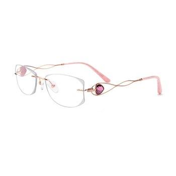 כסף טיטניום יהלומי קריסטל ברור משקפיים נשים משקפיים ללא שפה ליידי משקפיים גודל: 59-18-145mm