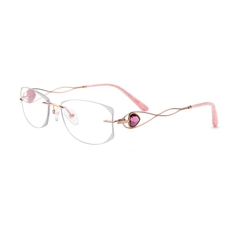 Argento Titanio del Diamante Crystal Clear Occhiali Donna Occhiali Da Vista Senza Montatura Occhiali Signora Formato: 59-18-145mm