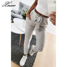 New 2019 Fashion spring Vintage gray casual pants women trousers female streetwear capris summer