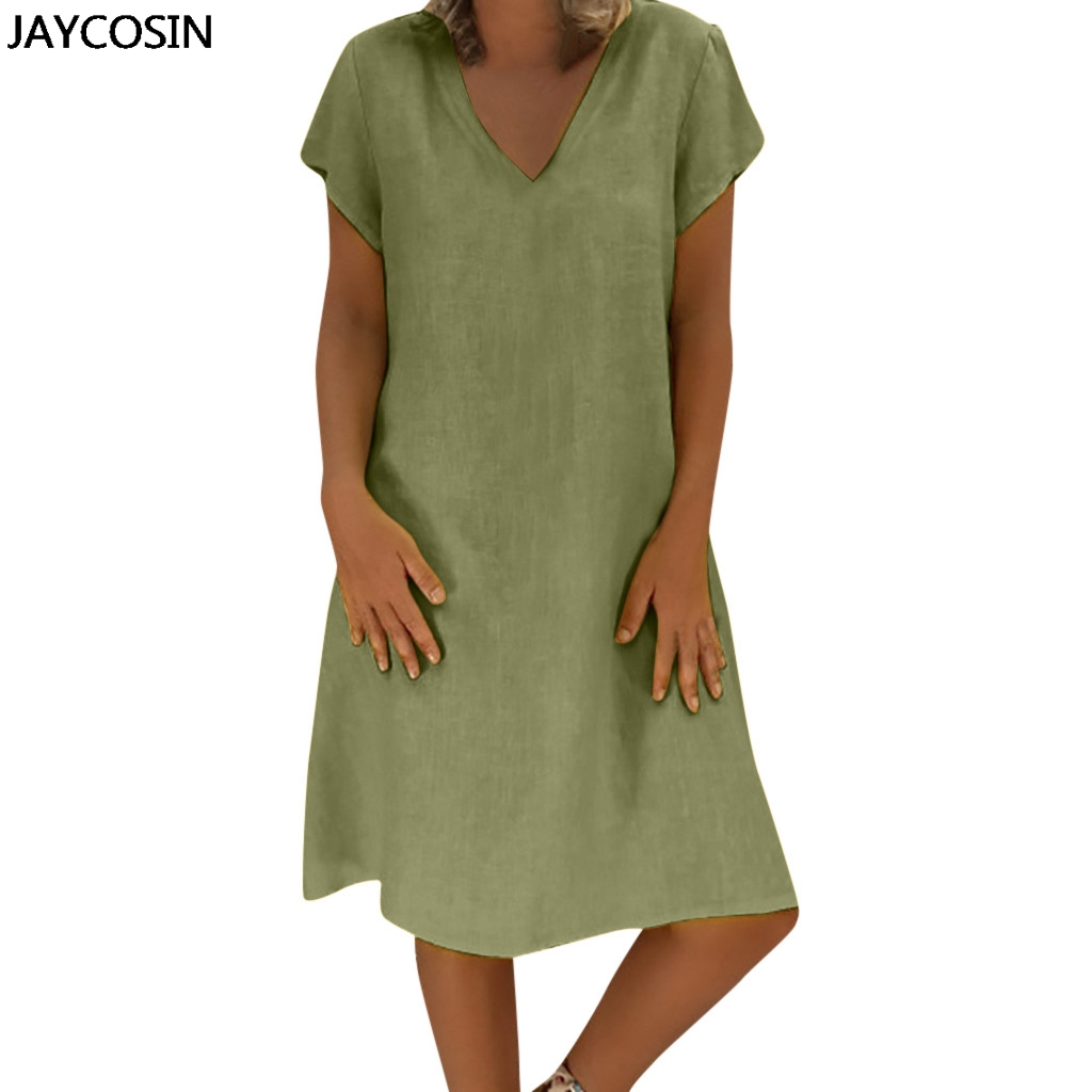US $8.93 32% OFF|JAYCOSIN Summer Dress new Lady Linen Cotton Solid Color  Beach Dress Plus Size Sundress Feminino Loose Dresses for droshipping-in ...