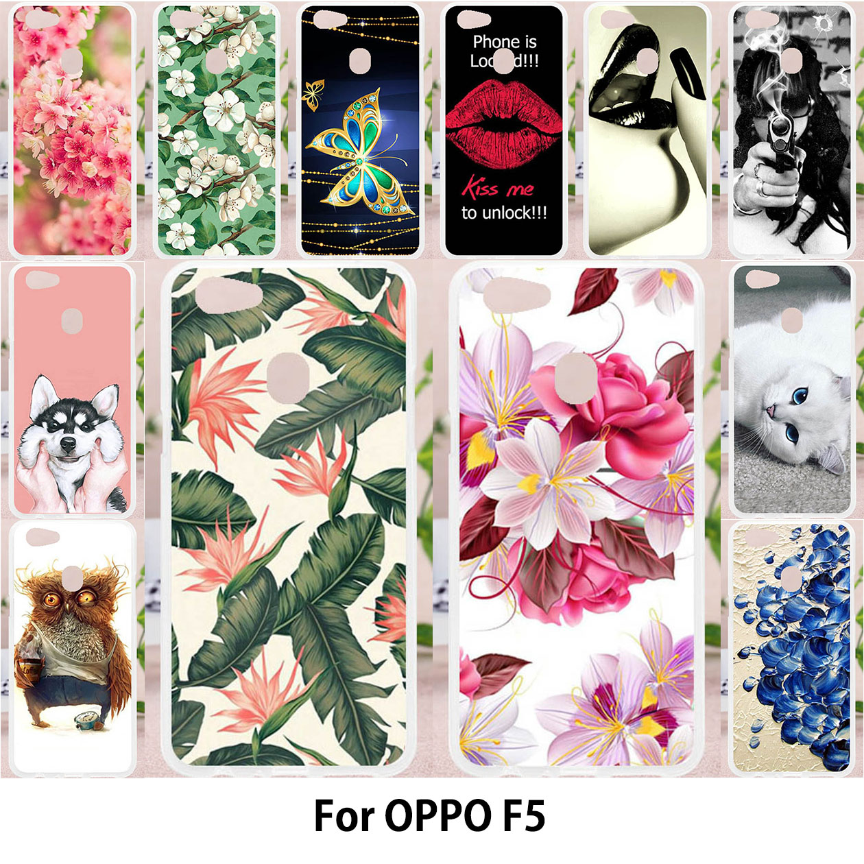 Phone Bumper For Case OPPO F5 Case For OPPO A73 F5 Youth F5 Plus Cover Soft Silicone Painting Cases Owl Cat Flower Cute Animals