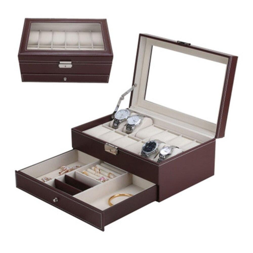 12 grilles fentes montre boîte rangement professionnel montres boîte Double couches PU cuir montre Case vide-poche noir marron