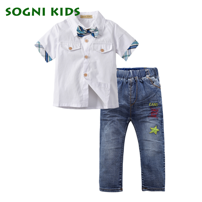 SOGNI KIDS Boys Clothing Set 2018 Spring Autumn Fashion Kids Plaid T- Shirt + Jeans Set Casual Cotton Suit For Boy Clothes 2-5Y