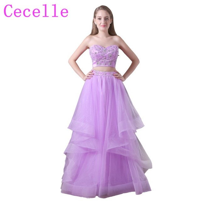 Two Pieces Lilac Tulle Long Prom Dresses 2018 Sweetheart Beaded Top ...