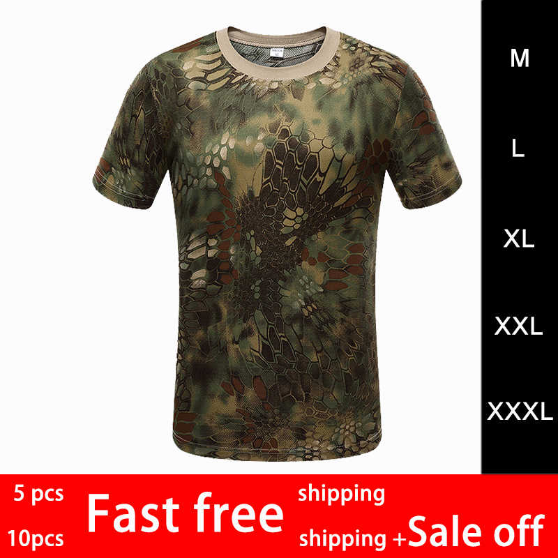f29ffc8b0a76c 2019 Summer Men Outdoor Sports Camouflage Short Sleeves T-Shirts Breathable Quick  Dry Hiking Camping