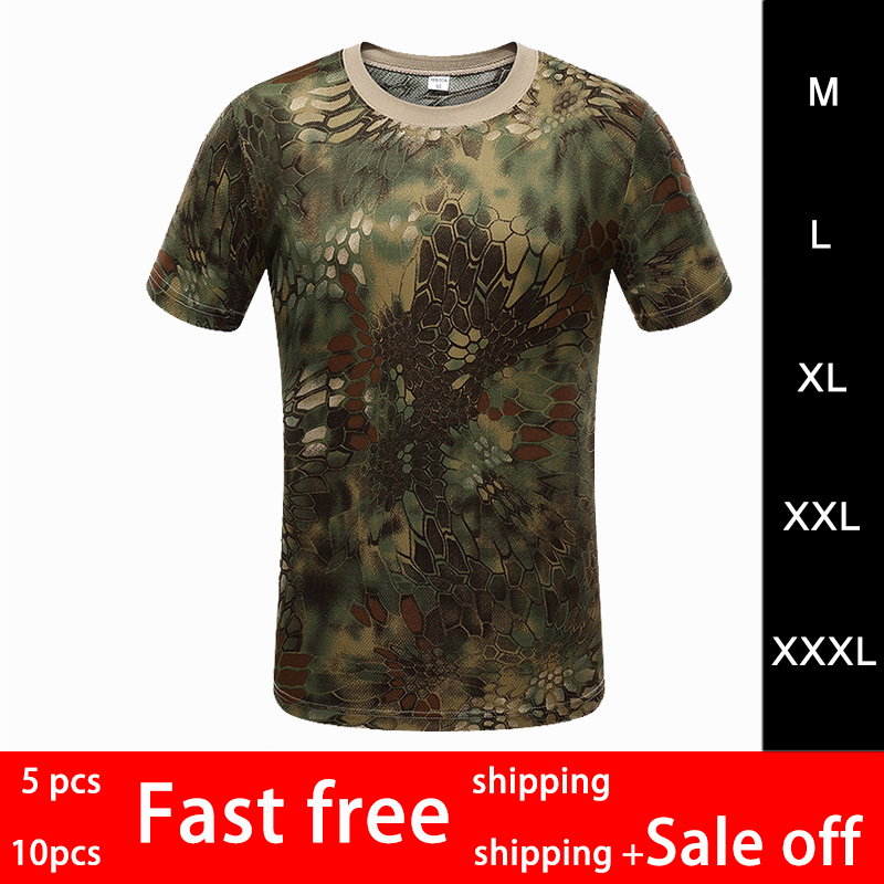2019 Summer Men Outdoor Sports Camouflage Short Sleeves T-Shirts Breathable Quick Dry Hiking Camping Cycling Tees