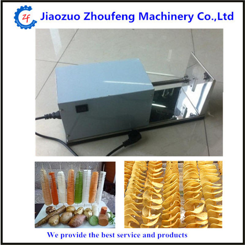 South Korea tornado potato machine electric potato spiral cutter automatic potato slicer for commercial   ZF automatic electric twister tornado potato spiral curly cutter slicer machine