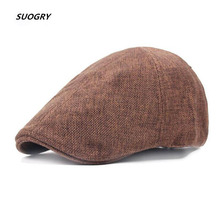 SUOGRY Brand Flat Cap For Men Women Linen Flatcap Summer Beret Hat British Warm Vintage French Caps And Boina