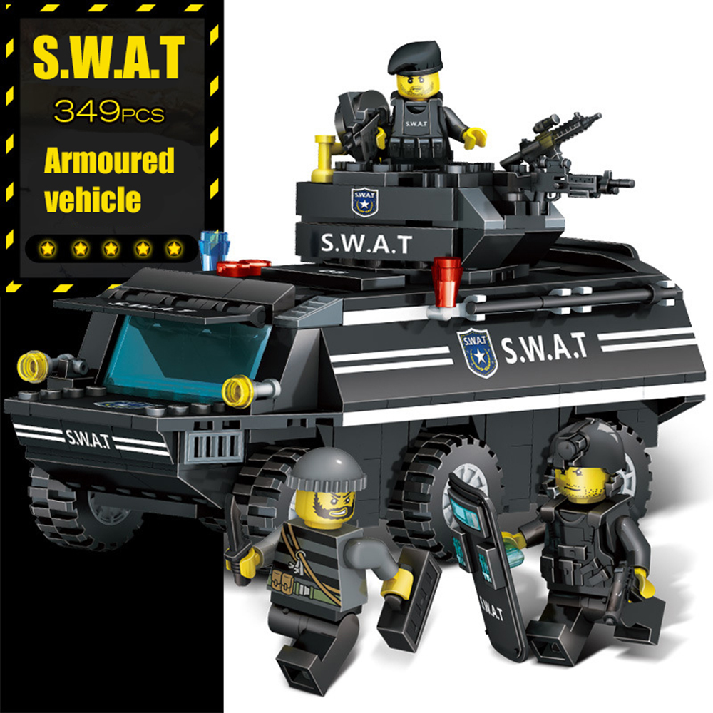 349pcs GUDI SWAT Police Armoured Vehicle Tank Playmobile MOC Building Blocks Bricks Compatible With Legoe City Toys For Children