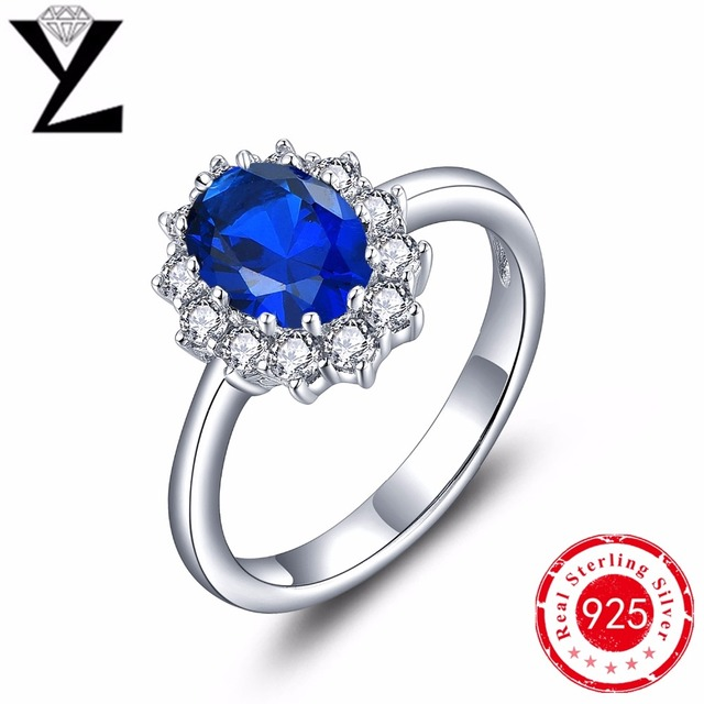 Ringen zilver 925 sterling silver rings for women vintage created sapphire ring with blue stone sterling silver jewelry