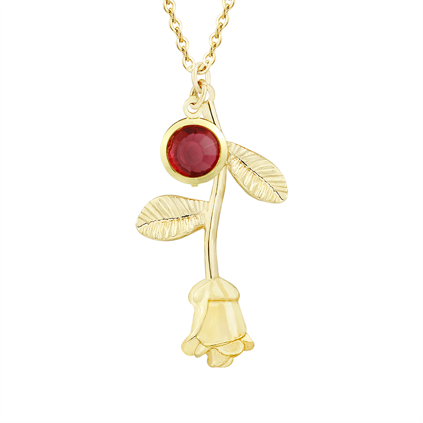 Boho Jewelry Gold Color Bijoux Femme Collier 2019 Vintage Crystal Birthstone Rose Flower Statement Necklace Women Charm Ketting in Pendant Necklaces from Jewelry Accessories