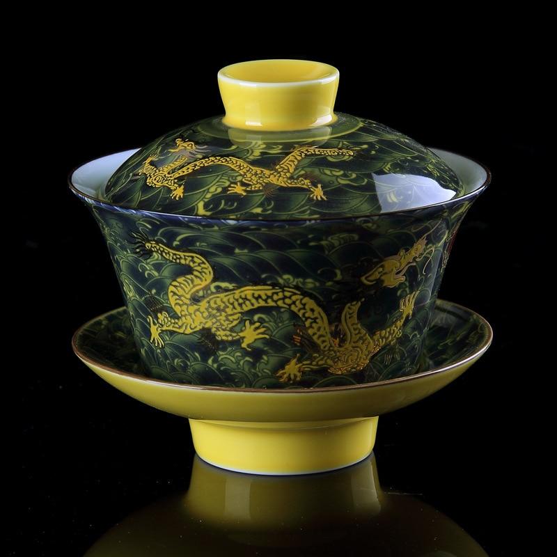 Chinese Tea Set Gaiwan Porcelain Traditional Dragon Kung Fu Tea Set Tureen Ceramic Wedding Tea Bowl