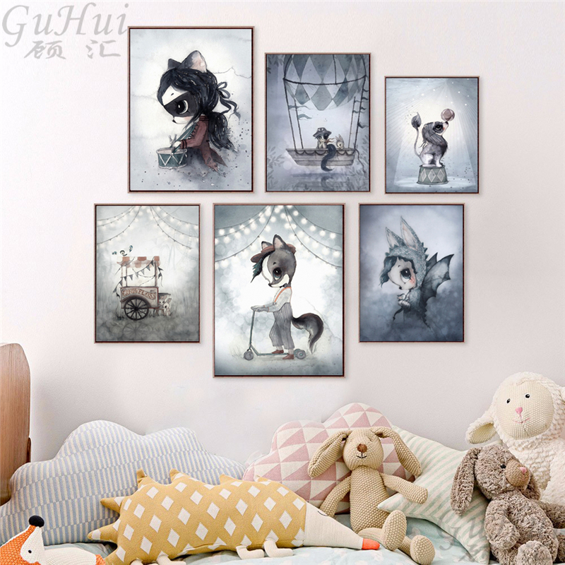 Kawaii-Animal-Panda-Poster-Print-Nordic-Cartoon-Penguin-Nursery-Wall-Art-Picture-Kids-Baby-Room-Decor