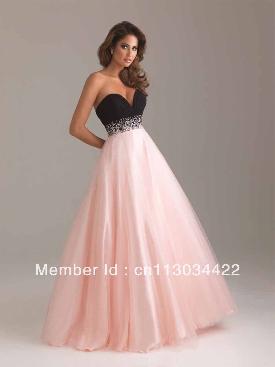 Free shipping 2014 new arrive elegant hot pink dress strapless gowns ...