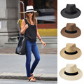 Men Women Fedora Wide Brim Black ribbon patchwork Straw hat Trilby Cap Panama Unisex Summer Beach Sun Hat chapeu feminino Y1