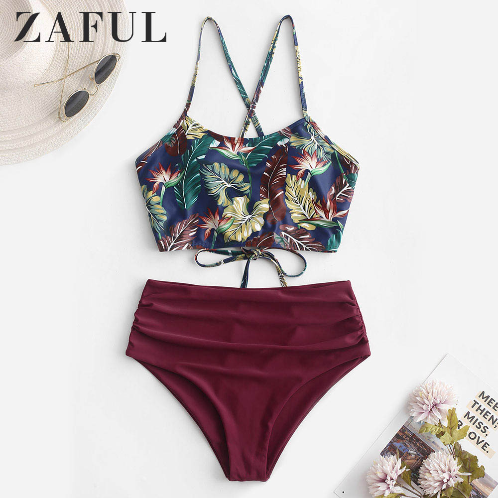 ZAFUL Leaf Print Lace-up Ruched Tankini Swimsuit Criss-Cross Spaghetti Straps High Waisted Sexy Swimwear Women Bathing Suit