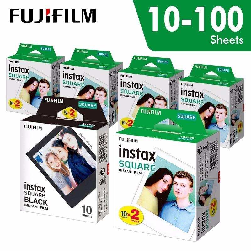 D'origine Fujifilm Instax Carré Instantanée blanc bord Film 10 à 100 Feuilles pour Fuji SQ10 6 20 SP2 Hybride format caméras
