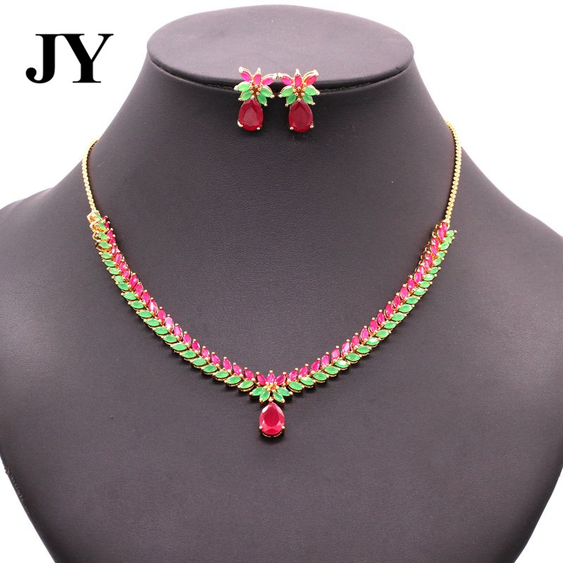JY New Arrival Luxury Party Jewelry Sets For Women Charm Vintage Earring Elegant Necklace Woman Brincos Best love Friend Gift