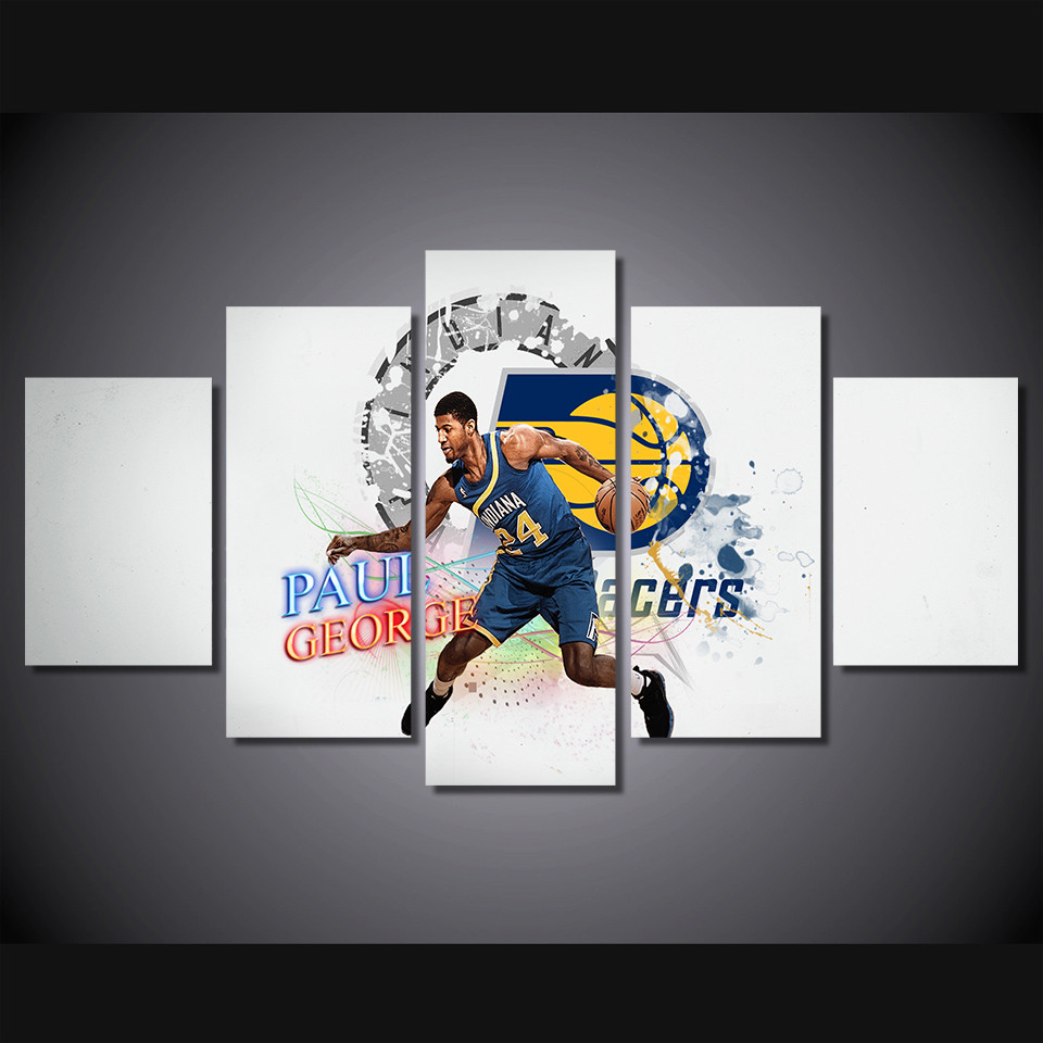 5 panel large HD printed canvas print art painting Paul George Indiana Pacers home decor ...